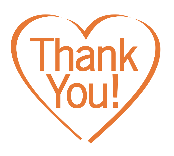 """words """"thank you"""" in orange heart"""