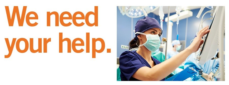 We Need Your Help Text with Nurse in Scrubs image beside text